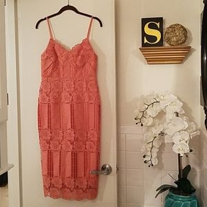 Floral Lace CORAL Date Night Dress NWT